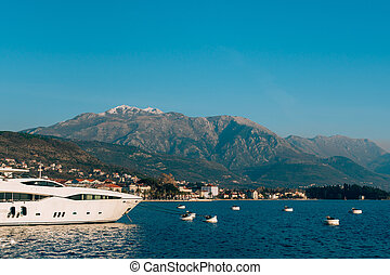 Lovcen in the snow. Snow on the mountain. View from Tivat....