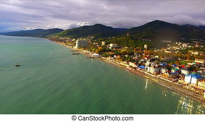 Aerial view on seashore resort area, Black Sea, Russia