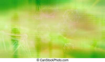 Green geometric shapes and feedback looping abstract...