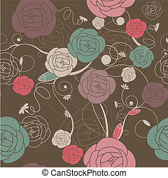seamless romantic wallpaper with roses vector illustration