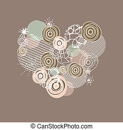 stylized heart vector illustration - cute card with stylized...