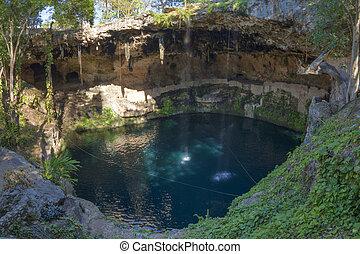 Exotic natural pool Cenote Zaci in Yucatan - Natural...