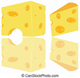 two cheese pieces - Illustration of two cheese pieces with...