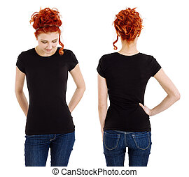 Woman wearing blank black shirt front and back