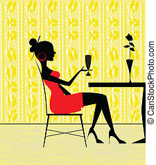 woman at restaurant - The woman at restaurant with a...
