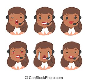 Callcenter worker with headset. Cartoon vector illustration african woman agent