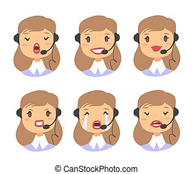 Callcenter worker with headset. Cartoon vector illustration caucasian woman agent