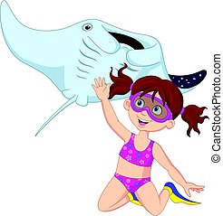Cartoon little girl diving with stingray - Vector...