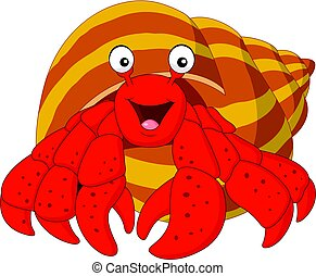 Cartoon hermit crab - Vector illustration of Cartoon hermit...