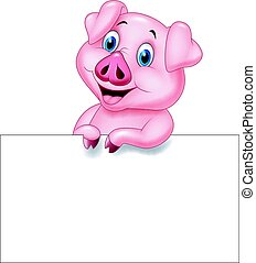 Cartoon pig holding blank sign - Vector illustration of...