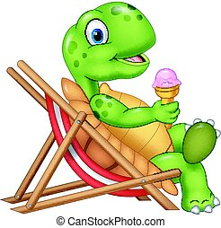 Cartoon turtle sitting on beach chair and holding an ice...