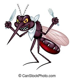 Cartoon mosquito ready for eat - Vector illustration of...