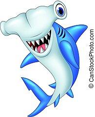 Cartoon hammerhead shark - Vector illustration of Cartoon...