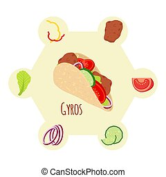 Gyros ingredients, meat, cucumber, tomato, salad, onion, pepper. Flat style.