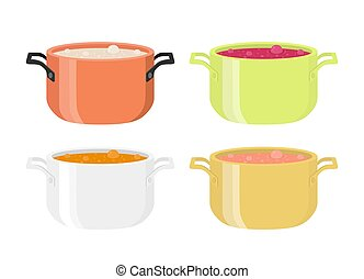 Various soups in pots. Meal with vegetables, meat. Flat...