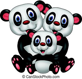 Cartoon panda bear family - Vector illustration of Cartoon...