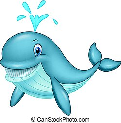 Cartoon funny whale - Vector illustration of Cartoon funny...