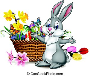 Cartoon rabbit with Easter egg in the basket