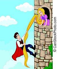 longo, cabelo, escalando, usando, torre, príncipe