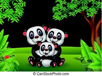 Cartoon panda family in the jungle