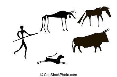 Primitive herd - Primitive image of animals and man like...