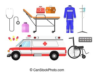 Ambulance car, wheelchair, gurney wheeled stretcher, medical kit, blue uniform