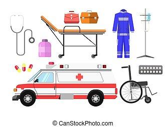 Ambulance car, wheelchair, gurney wheeled stretcher, medical...