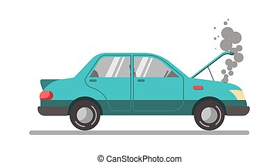 Crashed blue car with open hood, vector illustration...