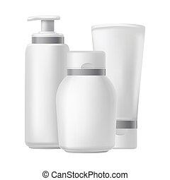Blank three beauty hygiene containers isolated on white....