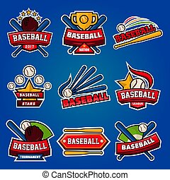 Baseball logotypes with equipments poster on blue background...