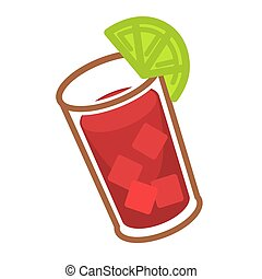 Bloody Mary with ice and slice of lime in glass - Modern...