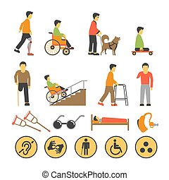 Disabled people and necessary equipments with signs poster -...