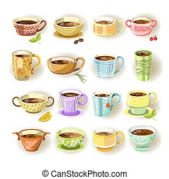 Cups with various colorful print set on white - Cups with...