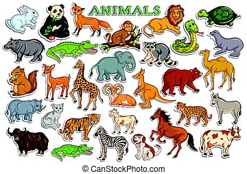 Different animal collection in sticker style - vector...