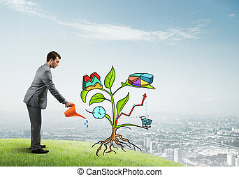 Young businessman outdoors watering drawn growth concept with can