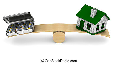 House and money on scales. Isolated 3D illustration