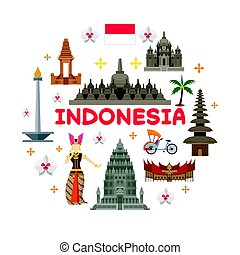 Indonesia Travel Attraction Label - Landmarks, Tourism and...