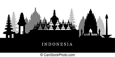 Indonesia Landmarks Skyline in Black and White Silhouette -...