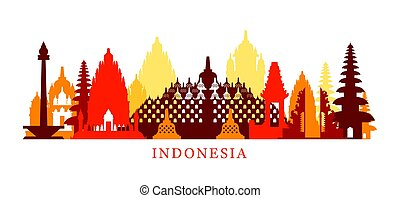 Indonesia Architecture Landmarks Skyline, Shape -...