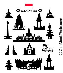 Indonesia Landmarks Architecture Building Object Set -...