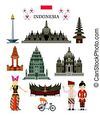 Indonesia Landmarks and Culture Object Set - National Symbol...