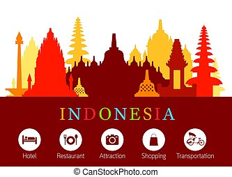Indonesia Landmarks Skyline with Accomodation Icons -...