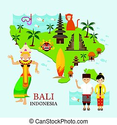 Bali, Indonesia Map with Travel and Attraction - Landmarks,...