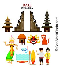Bali, Indonesia Landmarks and Culture Object Set -...