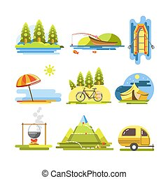 Summer activities colorful vector flat poster on white....