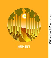 Sunset button with sunny forest and sun behind trees vector