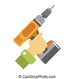 Hand with screwdriver vector illustration isolated on white.