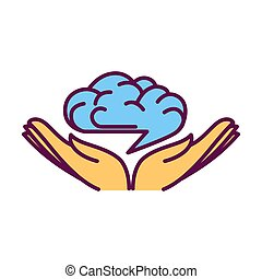 Open hand palms with human brain over them logo design...