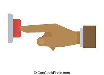 Hand pushing red button isolated on white background. Vector illustration