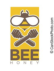 Bee honey logo design with two crossed dippers and insect...